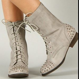 BAMBOO Shoes - BAMBOO Grey Combat Boots